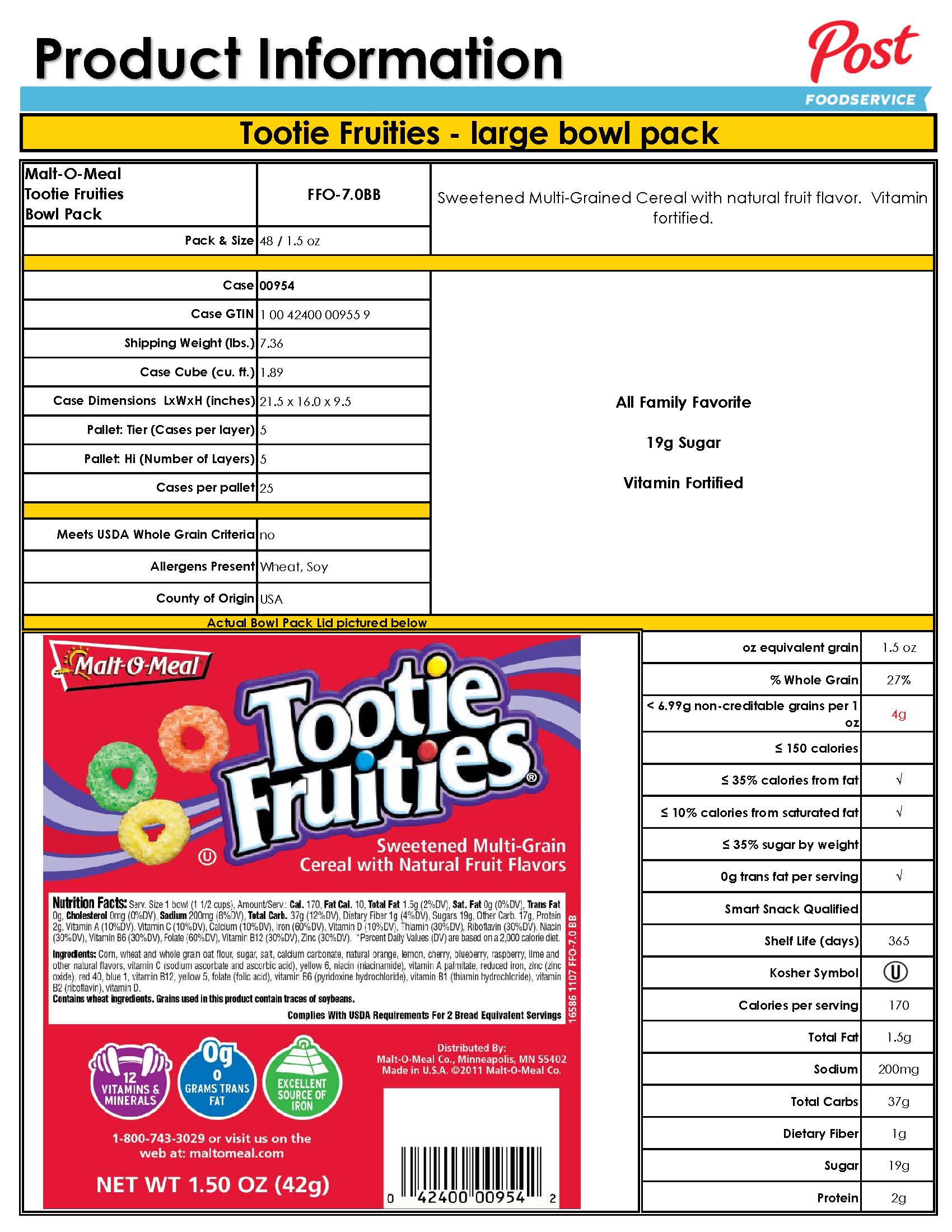 Cereal Tootie Fruities Bowl. View Nutrition Info.