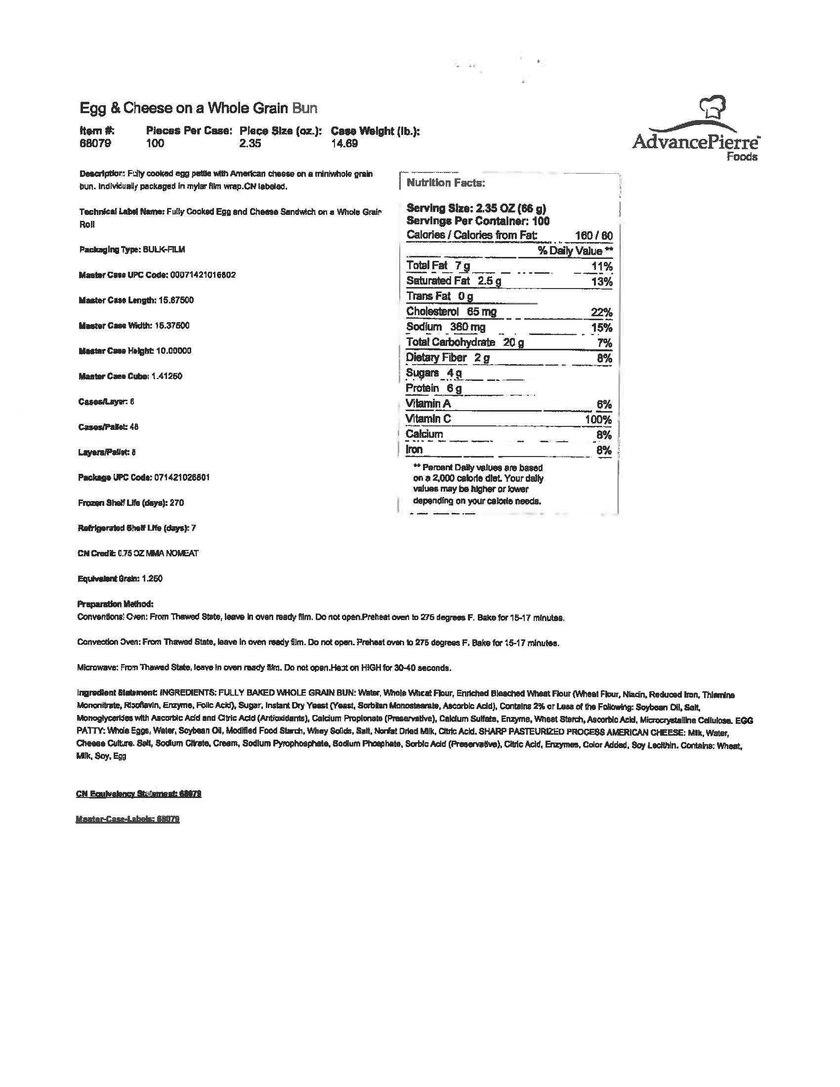 AdvancePierre - Sandwich Egg/Cheese Mini WG CN IW 05230